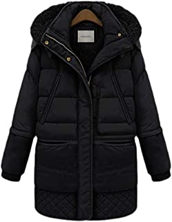 Womens Casual Warm Hood Mid Length Zipper Thickent Long Sleeve Loose Warm Down Outwear Coat