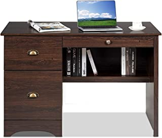 Tangkula Computer Desk, Wood Frame Home Office Desk with Storage Drawer and Shelf, Computer Workstation with Spacious Desktop, Ideal for Bedroom, Living Room, Office (Walnut)