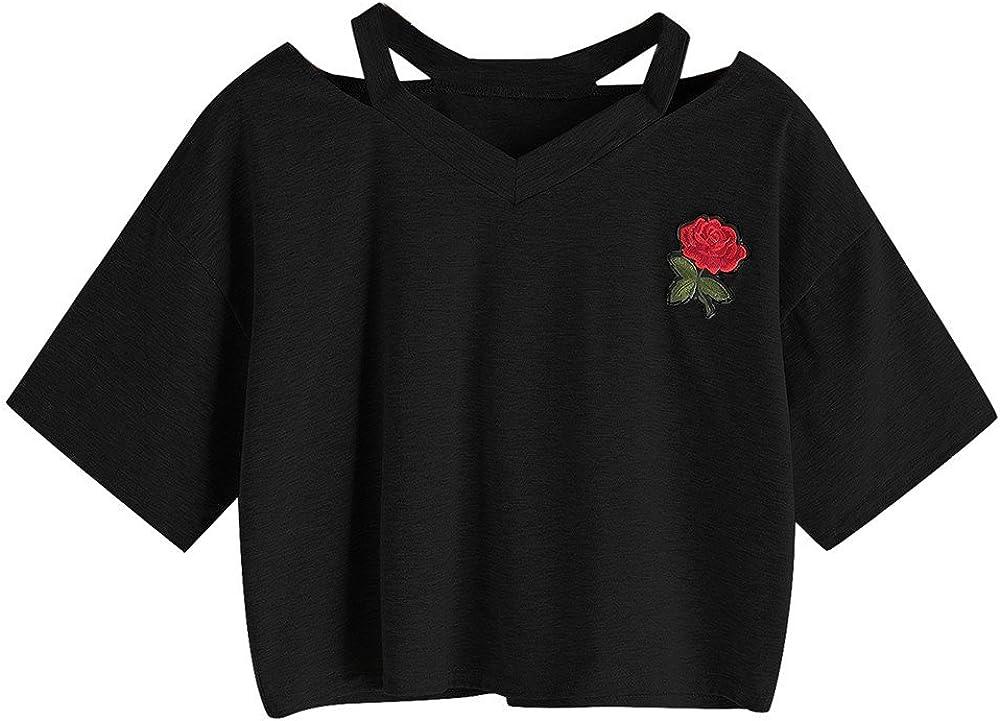 VEKDONE Women Teen Girls Cute Graphic T Shirt Rose Printed Crop Top Belly Shirt Blouse Summer Tops