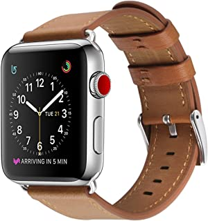 Compatible with Apple Watch Band, BELONGME 38mm 40mm Genuine Leather Watch Strap Compatible Apple Watch Series 4(40mm), Series 3/2/1 (38mm), Sport & Edition-Brown