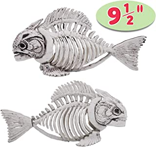 "Halloween Decoration 2 PCs 9.5"" Pose-N-Stay Fish Skeleton Plastic Bones with Posable Joints for Pose Skeleton Prop Indoor / Outdoor Spooky Scene Party Favors Décor."