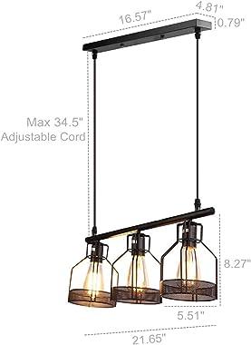 Black Pendant Lighting 3-Light Kitchen Island Light Fixtures Rustic Cage Industrial Chandelier for Bar Dinning Room