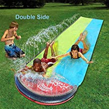 15.7 FTLawn Water Slides Slip (Double Slide), Rainbow Slip Slide Play Center with Splash Sprinkler and Inflatable Crash Pad for Kids Children Summer Backyard Swimming Pool Games Outdoor Water Toys
