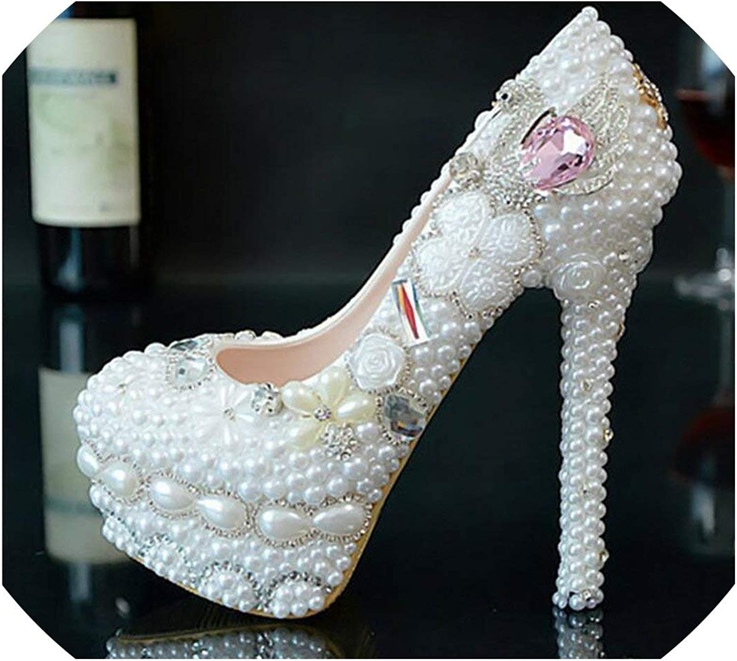 High Heels Womens Wedding shoes White Pearl Swan Bridal Party Dress shoes Woman High Heels