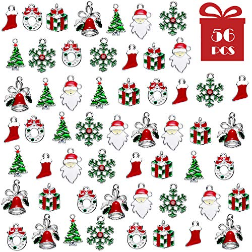 56 Pieces Christmas Charms Pendants Enamel Christmas Tree Snowflake Bell Garland Santa Sock Gift Box Pendants for Necklace Bracelet Keychain Jewelry Making DIY Crafts