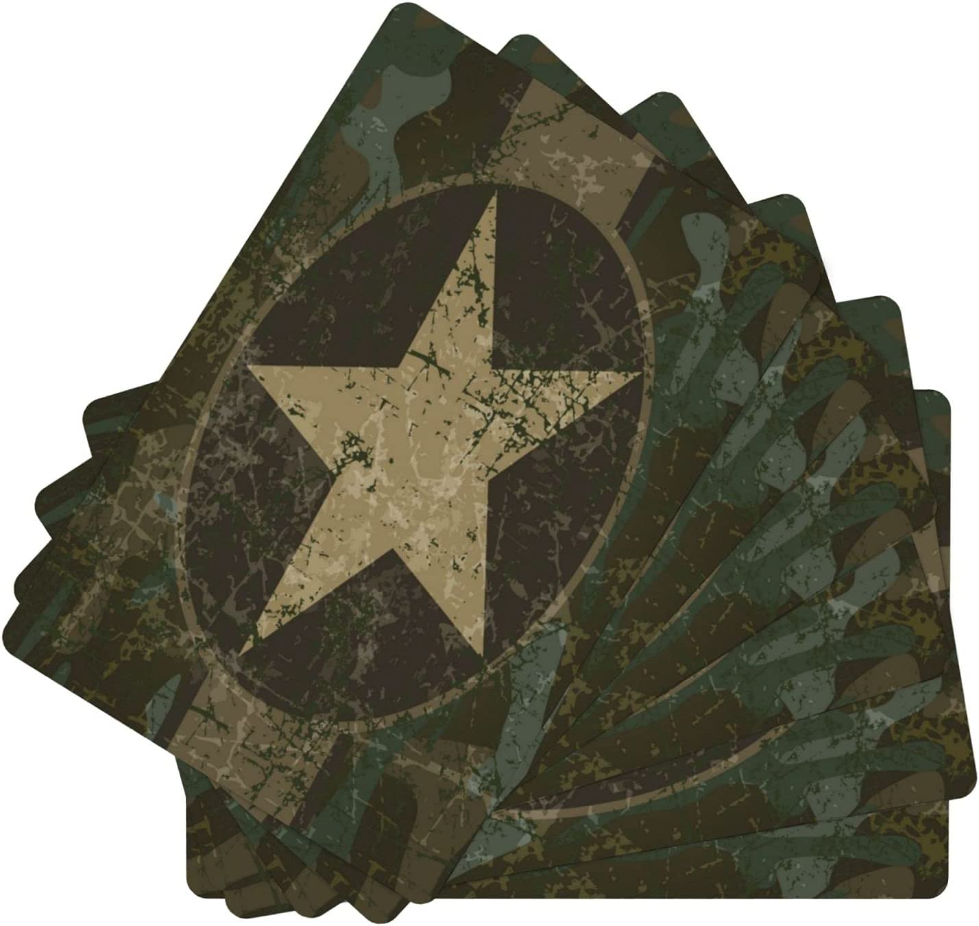 Vintage Military OFFicial shop Camouflage Star Leather Table Set Was Max 47% OFF of 6 Mats