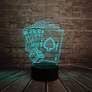 Luxury & Trendy Creative 3D LED USB Lamp Magician Decoration Texas Hold EM Dice Poker Spades Playing Card 7 Colors Changing