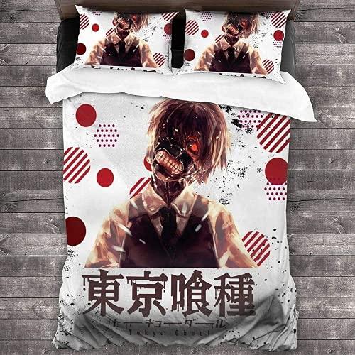 QWAS Tokyo Ghoul Juego de ropa de cama Jin Muken Juego de funda de edredón hipoalergénico, 220 x 240 cm, impresión digital 3D (Ghul 7,140 x 210 cm + 80 x 80 cm x 2)