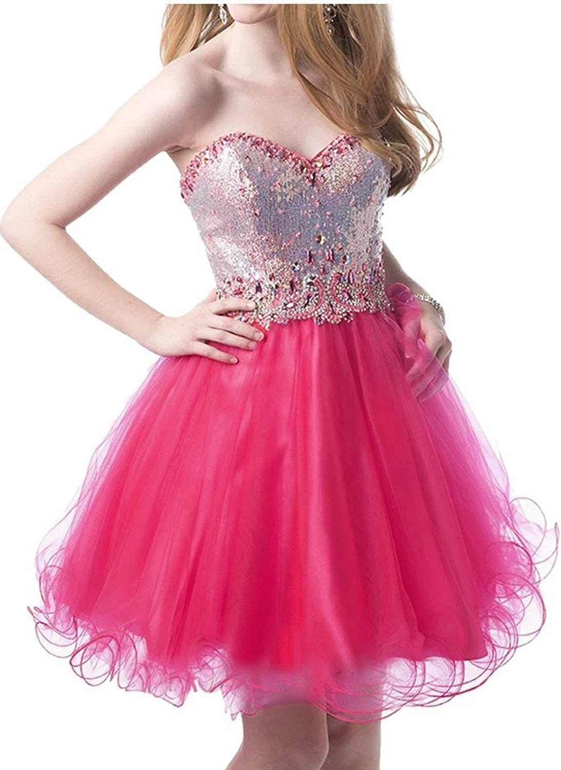 Angel Bride Sequin and Tulle Pageant Evening Cocktail Prom Dresses Mini Sweetheart
