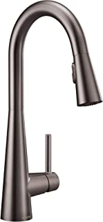 Moen 7864BLS Sleek One-Handle High Arc Pulldown Modern Kitchen Faucet Featuring Power Clean, Black Stainless