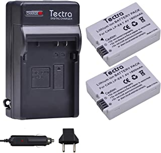 Tectra 2-Pack Canon LP-E8 Replacement Battery and Charger for Canon EOS Rebel T2i, T3i, T4i, T5i, 550D, 600D, 650D, 700D, Kiss X4, X5, X6i, X7i