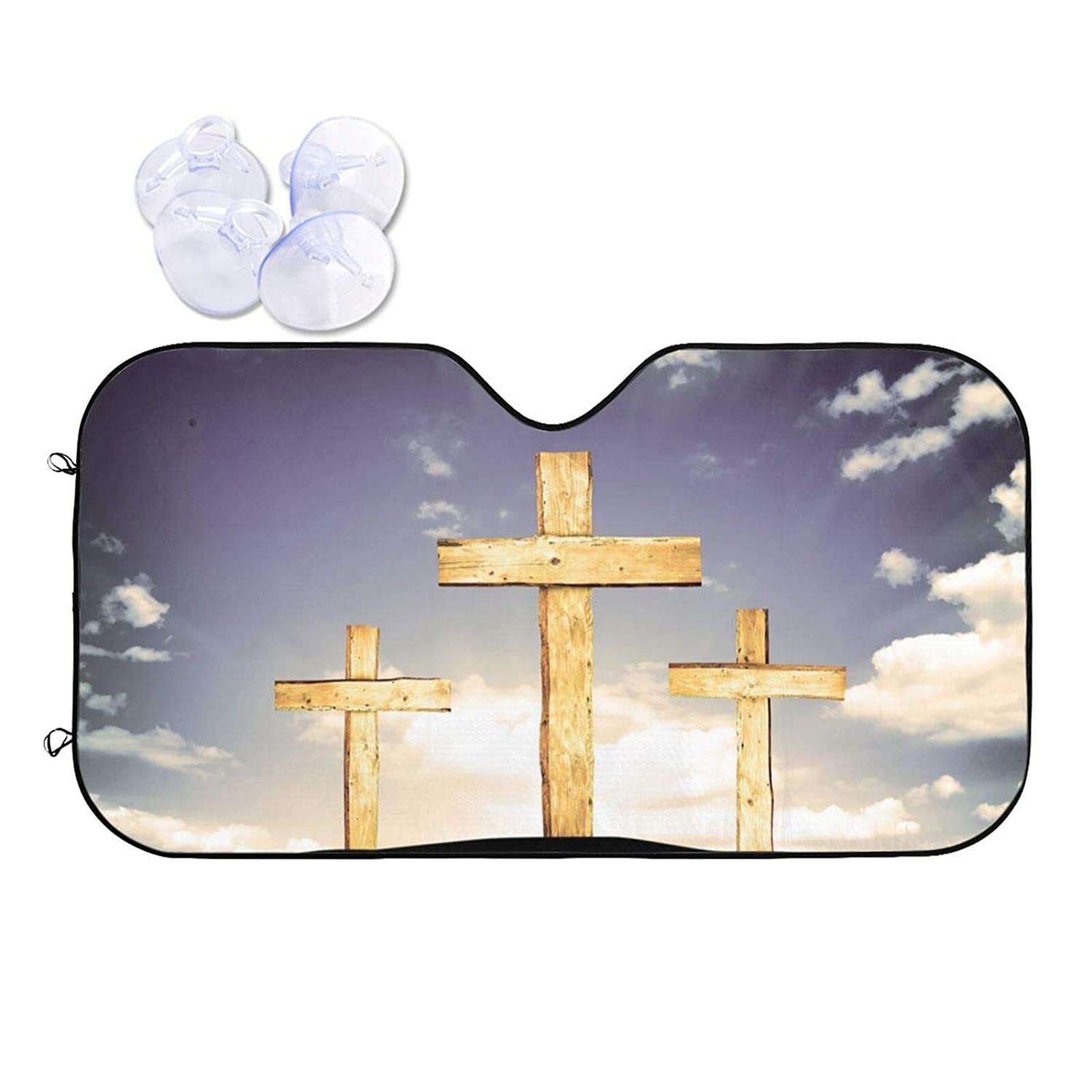 Wooden Crosses Car Front Windshield Sun Rays - Shade Great interest S Manufacturer regenerated product Blocks Uv