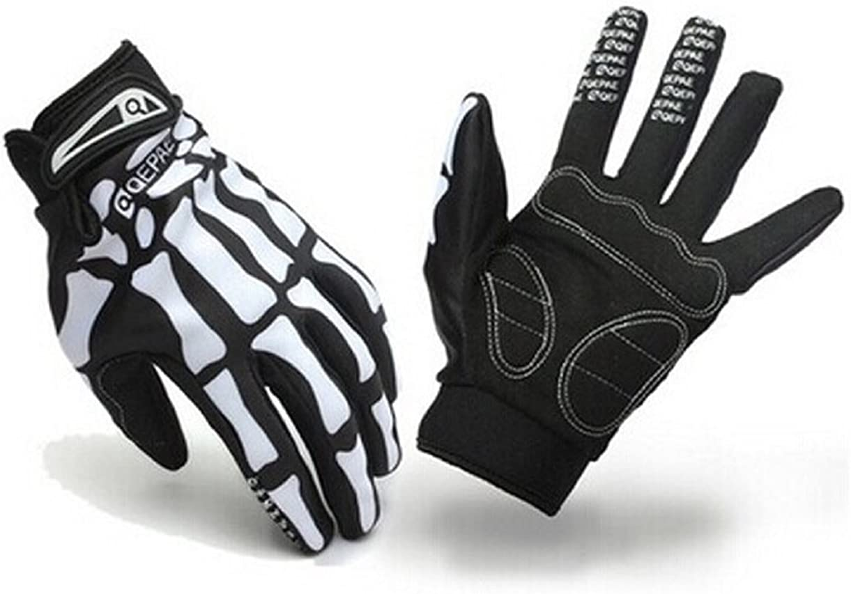 Lookatool Sport Cycling Bike Motorcyle Skull Skeleton Goth Bone Full Finger Glove