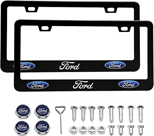 2 Pieces for Ford Black Aluminum License Plate Frames Covers with Zinc Alloy Logo Anti-Theft Screws for Ford