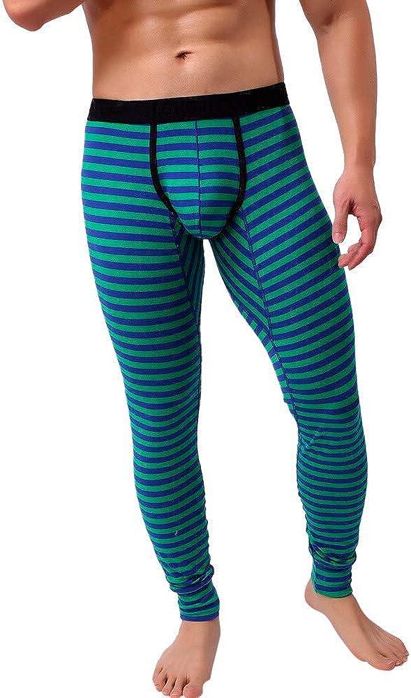 Men's Leggings Underwear, Sexy Low Rise Striped Breathable Patchwork Leggings Long Sleepwear Pants