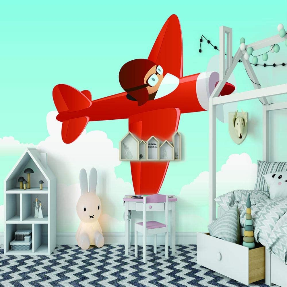Large discharge sale ZXDHNS Memphis Mall Wall Murals XXL - Self-Adhesive Red Airplane Cartoon