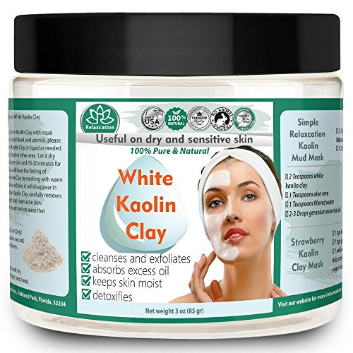KAOLIN CLAY POWDER All Natural and Pure White Kaolin Clay Cosmetic Grade, Great For Sensitive Skin, Use For Facial Masks, Hair Masks