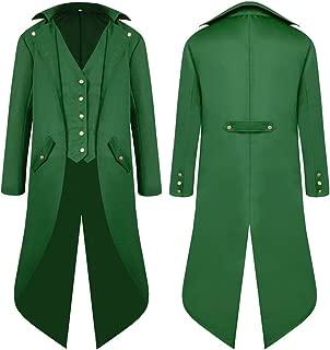 MOCUER Mens Tailcoat Jacket Gothic Victorian Steampunk Halloween Costume Long Uniform Coat