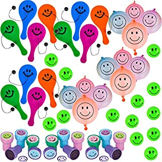 Happy Smile Face Party Favors   Stampers, Paddle Balls, Glow in the Dark Superballs, Punching Ball   48 Pack