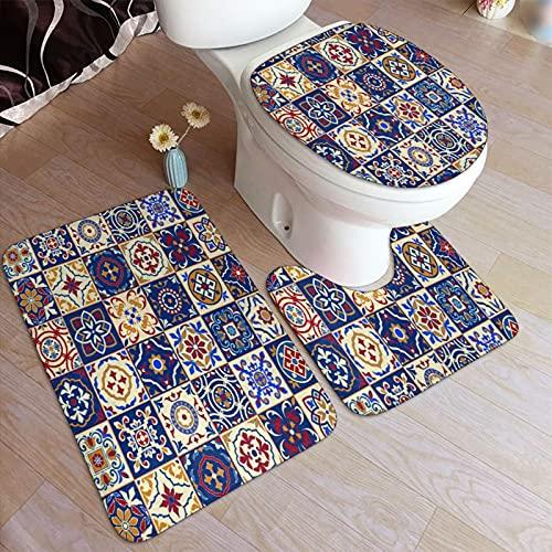 Juegos de alfombra de baño para el hogar, 3 piezas para baño, Marroquí, Portugués Azulejo Cuadrados Cuadrados Coloridos,Alfombrilla de ducha antideslizante ultra suave, Alfombra de contorno en