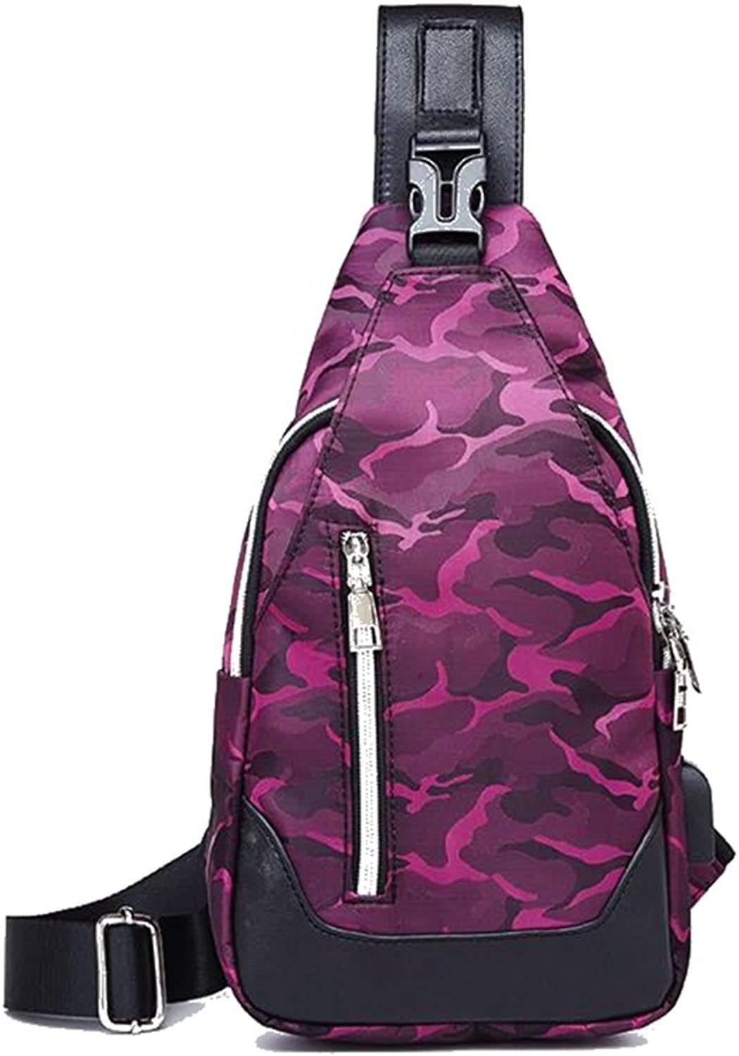 Professional Bag Sling Bag, Camo Chest Pack Crossbody Casual Lightweight with USB Charging Port Shoulder Bag for Men Women Travel Outdoors Boys Girls. Outdoor Travel Essentials (color   Camo pink)