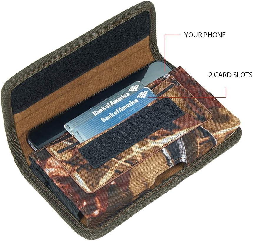 Horizontal Cell Phone Holster with Belt Clip for Google Pixel 4 XL 3a XL, TCL 20 Pro 5G 10 5G UW 10L Plex (Woodland)