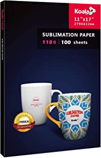 KOALA Sublimation Heat Transfer Paper 11x17 Inches for Inkjet Printer Compatible with Sublimation Ink 100 Sheets 118gsm