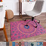 """Anji Mountain Chair Mat Rug'd Collection, 1/2"""" Thick - For All Surfaces, Kuta , Pink Sunburst"""
