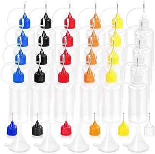 Flacons à Aiguille, Vide Bouteille de colle Quilling Outil Embout de précision Applicateur 24 x 30 ml pour DIY Peinture ar...
