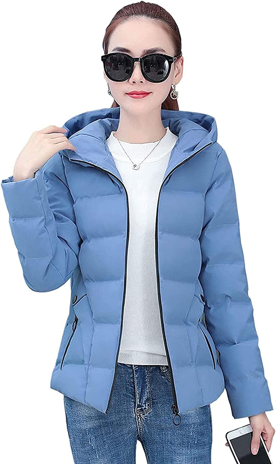Women's Windproof Hooded Full Zip Quilted Short Puffer Jacket