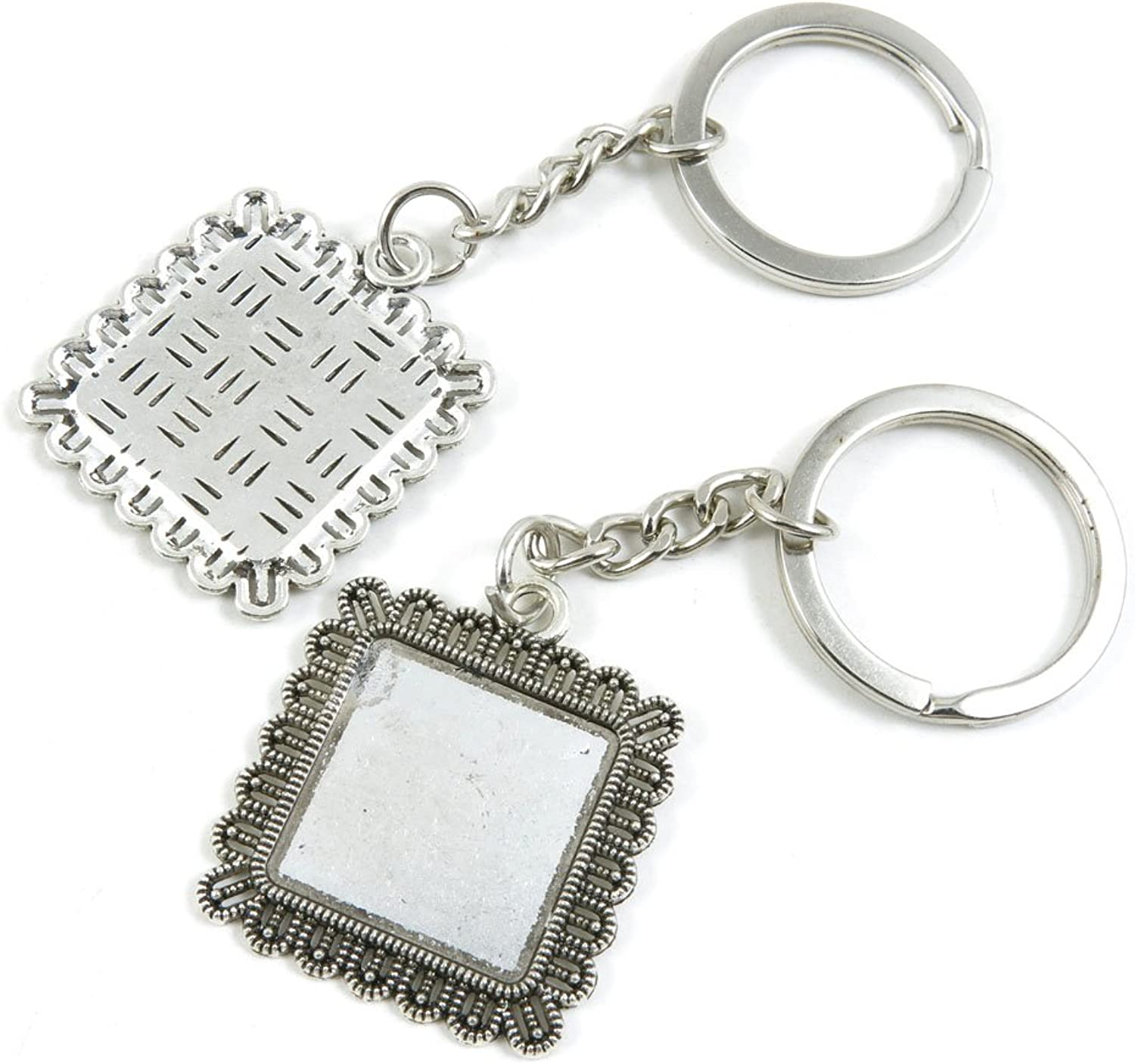 100 Pieces Keychain Keyring Door Car Key Chain Ring Tag Charms Bulk Supply Jewelry Making Clasp Findings T8MR7N Square Cabochon Base Blank 20mm