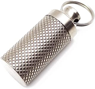 Haxtec Keychain Titanium Pill Fob Necklace Portable Waterproof Metal Keychain Pill Holder for Emergency Asprin and Nitroglycerin Pills