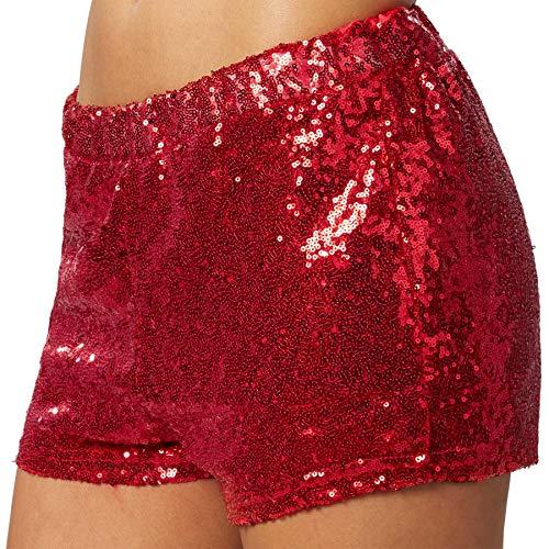 dressforfun 900996 Damen Pailletten Glitzer Shorts, sexy Kurze Hose Shorts, Gold - Diverse Größen - (L | Rot)