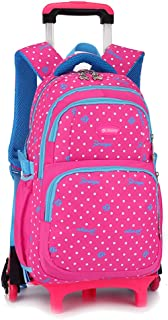 KINDOYO Children's Backpack with Rolling Wheels - Girls Cute Sweet Round Dot Pattern Detachable Trolley Schoolbag, Rose Red