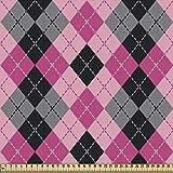 ABAKUHAUS Rosa Gris Tela por Metro, Diamantes Y Pastillas, Decorativa para Tapicería y Textiles del Hogar, 1M (148x100cm), Bebé Rosa Gris Negro