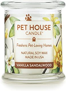 One Fur All All-100% Natural Soy Wax 20 Fragrances Odor Eliminator, Up to 60 hrs Burn Time, Non-Toxic, Eco-Friendly Reusable Glass Jar Scented Pet House Candle, S, Pack of 1, Vanilla Sandalwood