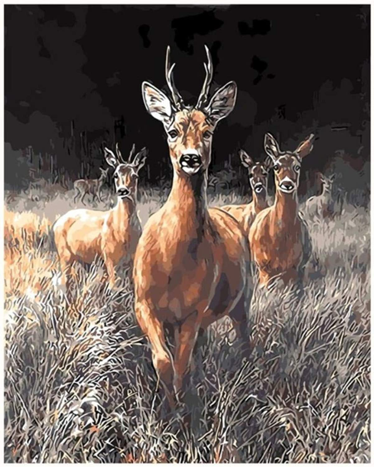 Deer Animal King Painting by Numbers Module Picture by Number Pictures Unique Gift Home Decor for Friends Office Decoration 50x60CM