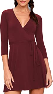 Albe Rita Women's Classic 3/4 Sleeve V Neck Sheath Casual Party Work Faux Wrap D