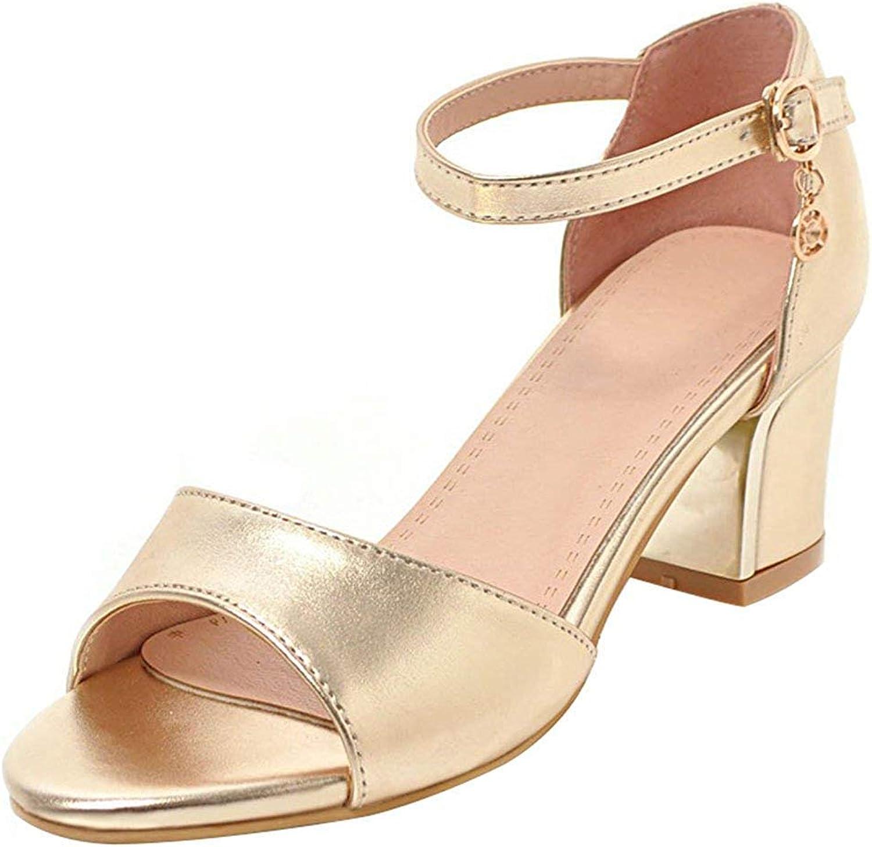 Lelehwhge Women's Trendy Buckle Ankle Strap Sandals - Pendant Solid color Open Toe - Block Medium Heels Work shoes Silver 8 M US