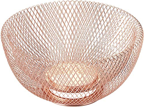 Nifty Solutions 7510COP Double Wall Mesh Copper Decorative and Fruit Bowl, Small