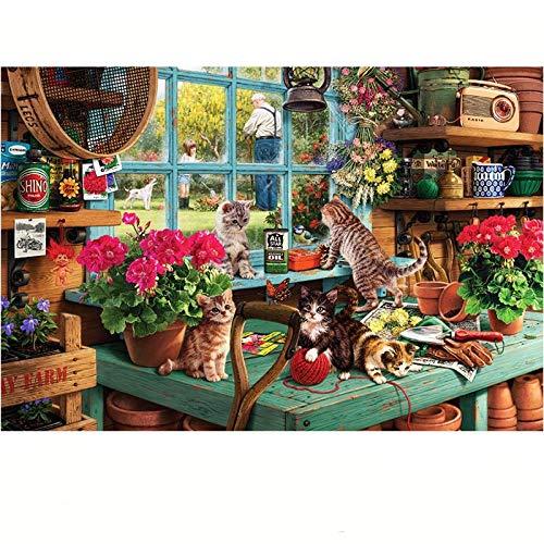 Puzzle 1000 Pezzi Gatto alla Finestra Puzzle per Adulti Puzzle di Legno 3D Puzzle Life DIY Collectibles Modern Home Decoration 75X50Cm