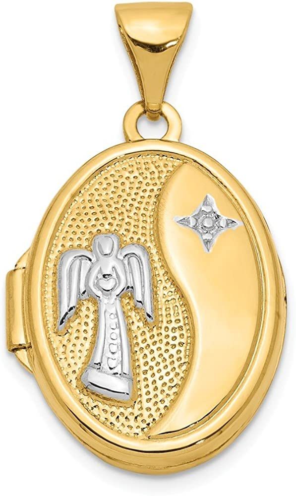 14k Yellow Gold White 17mm Guardian Angel Oval Photo Pendant Charm Locket Chain Necklace That Holds Pictures Fine Jewelry For Women Gifts For Her