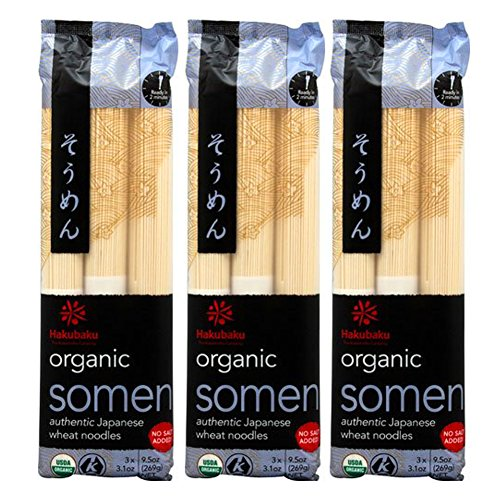 [ 3 Packs ] Hakubaku Organic Somen Japanese Wheat Noodles, No Salt Added, 9.5-Ounce
