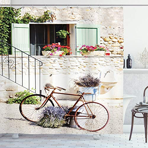 """Ambesonne Bicycle Shower Curtain, European French Mediterranean Rural Stone House with Bike Countryside Provence Day, Cloth Fabric Bathroom Decor Set with Hooks, 75"""" Long, Off White"""