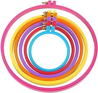 LUOEM 6 Stück Stickrahmen Kunststoff Verstellbarer Kreis Kreuzstich Reifenring für Stickerei Kreuzstich Kunsthandwerk Handliches Nähen