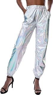 white metallic pants