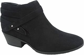 J. Adams FZ-Portia Women's Stylish Round Toe Low Heel Side Zipper Perforated Ankle Booties Shoes
