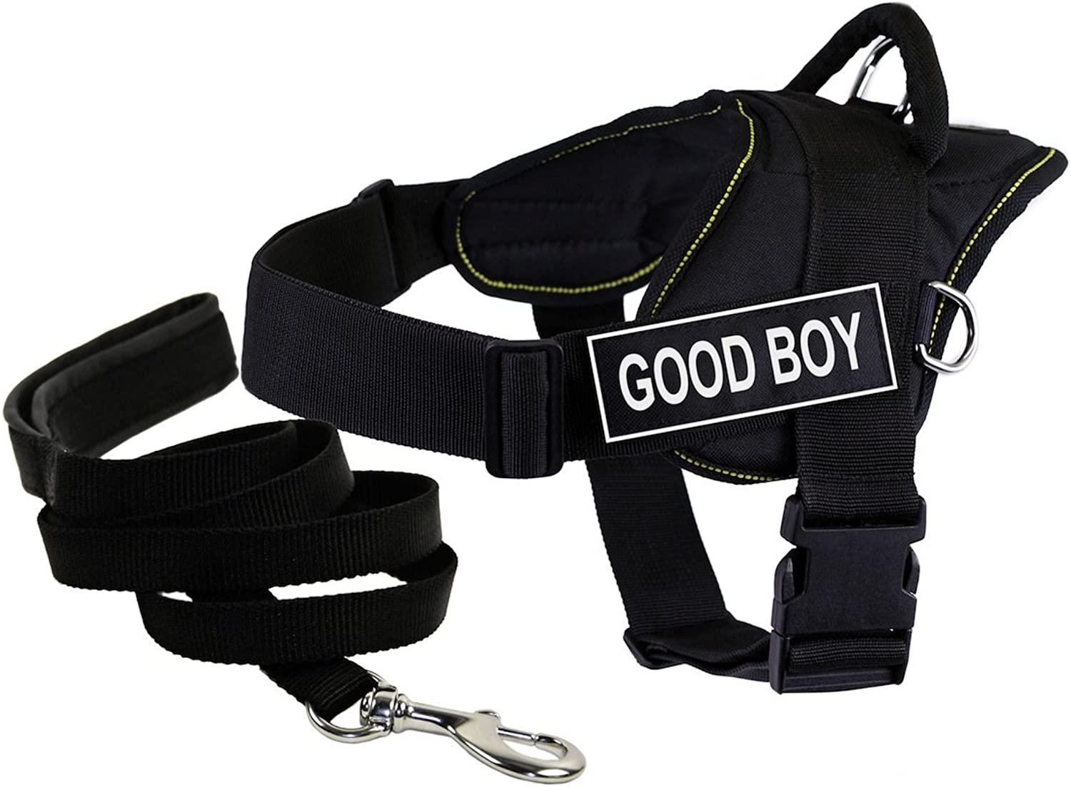 Dean & Tyler Bundle DT Fun Yellow Trim Small 22 to 27Inch Good Boy  Harness with Padded Puppy Leash and 6Feet Stainless Steel Snap, Black