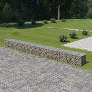 Tidyard Outdoor Gabion Wall Fence Stone Basket Garden Decoration Galvanized Steel 236