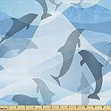 Lunarable Meerestiere Stoff am Yard, Delfin-Silhouetten mit